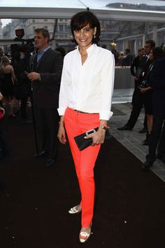 Stylish Inès de la Fressange shows how to do simple around-the-clock chic. Roger Vivier flats.