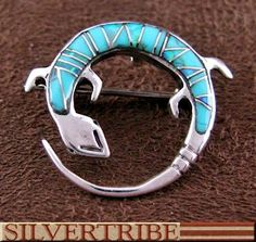 Turquoise And Opal Inlay Sterling Silver Gecko Pin Pendant AS54497