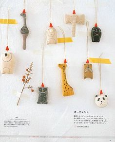 Adornos de tela - Toy ornaments: it would be fun to translate the kids drawings into flat softies Softies, Christmas Time, Christmas Crafts, Christmas Decorations, Christmas Ornaments, Tree Decorations, Diy Pompon, Craft Projects, Sewing Projects