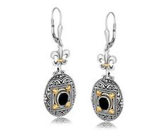 RICHARD CANNON Rectangle Framed and Scrollwork Accented Oval Black Onyx Fleur De Lis Dangling Earrings in 18K Yellow Gold and Sterling Silver