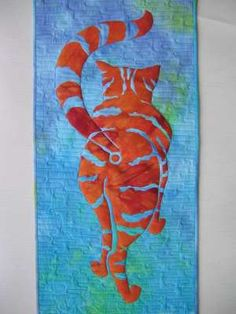 """Anyone who loves cats know this view.   Cool pattern for a small quilt for a cat lover.    """"Sharp Exit"""", 11 x 27, pattern by Janet Cook (UK)"""