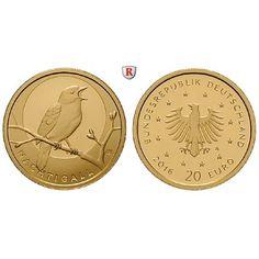 Bundesrepublik Deutschland, 20 Euro 2016, Heimische Vögel, Nachtigall., A, 3,89 g fein, st: 20 Euro 3,89 g fein, 2016 A. Heimische… #coins