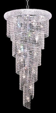 Spiral Clear Crystal Chandelier w 18 Lights in Chrome - http://chandelierspot.com/spiral-clear-crystal-chandelier-w-18-lights-in-chrome-542092397/