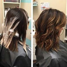 Bayalage hair painting highlights before and after balayage. Recently done to my hair Hair Painting Highlights, Hair Highlights, Caramel Highlights On Dark Hair, Hair Color And Cut, Brown Hair Colors, Hair Color For Dark Skin Tone, Hairstyles Haircuts, Pretty Hairstyles, Bob Haircuts