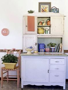 Though this antique Hoosier cabinet wasn't a bargain by any stretch, it has elements to look for: function, staying power, and a grand scale that draws the eye up: http://www.bhg.com/decorating/decorating-style/flea-market/ideas-for-flea-market-finds/?socsrc=bhgpin031914indulgeyourself&page=7