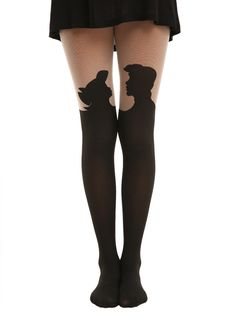 Disney The Little Mermaid Silhouette Tights | Hot Topic Kiss the girl tights.. maybe the only time I want my thighs touching!