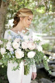 Less volume flowers as they dominate the bouquet. Add greenery and change to smaller flowers, add a touch of blue. Soft natural blush bridal wedding bouquet. Bride Chic: Styled Shoot at Lake Oak Meadows