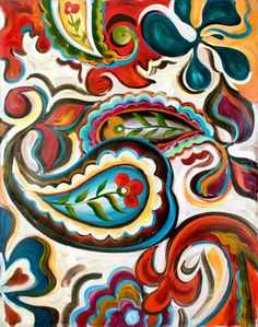 Hand Painted Canvas Art Posters, Prints, Paintings & Wall Art for Sale Hand Painting Art, Painting & Drawing, Motif Paisley, Paisley Art, Paisley Pattern, Pattern Art, Guache, Illustration, Art Google