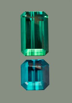 Teal Tourmaline: 24.05 carat blue-green emerald cut, 20x12.1x10.5mm.    15.49 carat INDICOLITE emerald cut, 14.23 x 12.95 x 10.5 8mm, (Photo Mia Dixon)
