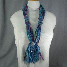 SKINNY STRING SCARF/Necklace in pretty Blues & Purples-with added Bling!!  by idreamofjeannemarie via Etsy, $22.00