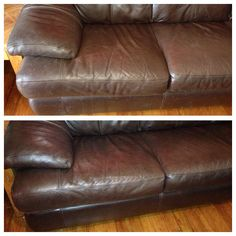 Before and after cleaning leather couches. Works amazing! 1/8 cup distilled white vinegar 1/4 cup olive oil. Mix well in a spray bottle and wipe with a lint free cloth and ta-da, brand new leather couches!