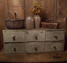 Early Country Antiques  Love the drawers, love the crocks.