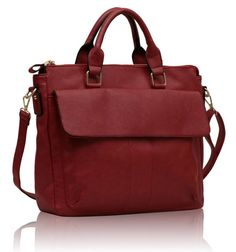 Office satchel with flap - Red