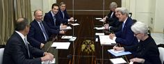Secretary of State John Kerry, right, meets with Russian President Vladimir Putin, right, and other officials in Russia. (AP)