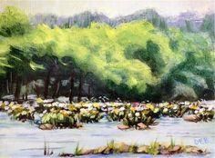 "Daily Paintworks - ""Landsford Spider Lilies"" - Original Fine Art for Sale - © Debbie Yacenda"