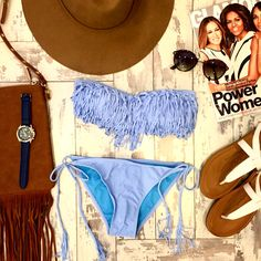 Rise and shine ☀️ the beach is calling your name!  Rock our Fringe Bandeau ($16.99) Tie Bikini Bottoms ($14.99) both at #4thandocean Sunnies ($9.99) and Crossed T-Strap Sandal ($22.99) both at #statements. All products listed online as well // #sophieandtrey #beach #swim #swimwear #sandals #summer #ootd #glamour #style