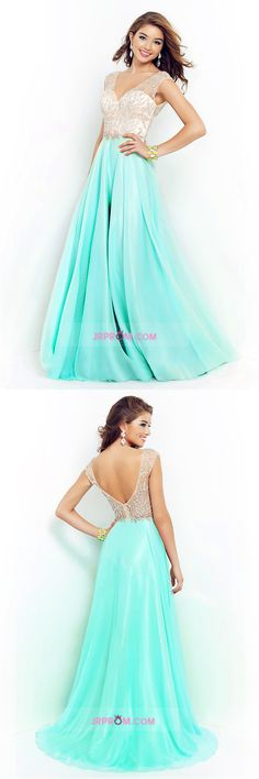V Neck Prom Dresses A Line Beaded Bodice Sweep Train Chiffon And Tulle Item Code:#JRP73YL8FT