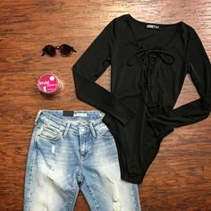 >>>Ordering a Little Extra S A S S ✔️with our spicy hott✔️ Criss  Cross BODYSUIT ✔️($34)   Boyfriend Distressed Denim ($118) <<< Sunglasses ($12)🌵 Pair with crochet cardigan; gray leather jacket; peek toe booties; cage booties; white sneakers for alternative looks . For immediate assistance or to ORDER call ☎️701-356-5080 (We Ship📦