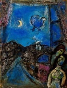 Marc Chagall (French, born Russia, 1887-1985): Evening at the Window, 1950 (Oil on canvas)