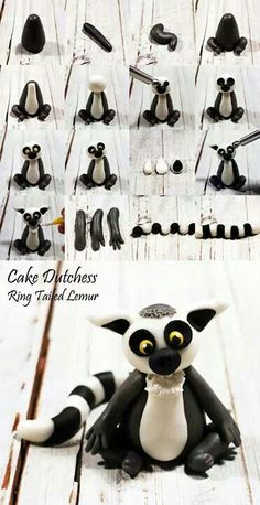 Ring tailed lemur, by Cake Dutchess Polymer Clay Figures, Polymer Clay Animals, Fondant Figures, Polymer Clay Crafts, Fondant Cupcakes, Fondant Toppers, Cupcake Toppers, Diy Cupcake, Fondant Bow