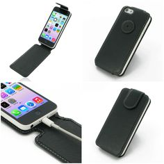 PDair Leather Case for Apple iPhone 5c - Flip Top Type (Black) Ver.2
