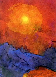 Sunset Over Blue Mountains - Emil Nolde - http://ilsassonellostagno.wordpress.com/2014/07/15/la-musa-di-anna-achmatova/