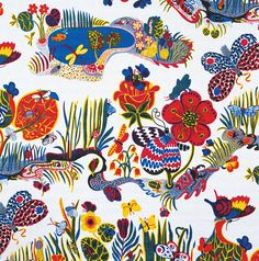 London's Fashion and Textile Museum is hosting the first UK exhibition dedicated to designer and artist Josef Frank, with textiles, furniture and waterco. Design Textile, Art Textile, Textile Artists, Textile Patterns, Print Patterns, Fabric Design, Pattern Design, Floral Patterns, Pattern Print