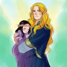 Glorfindel and Arwen by nevui-penim-miruvorrr - Imagine Glorfindel babysitting little Arwen. He seems like he'd be good with kids.