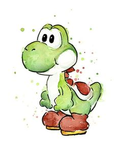 Yoshi - Mario Watercolor Art by Olechka design