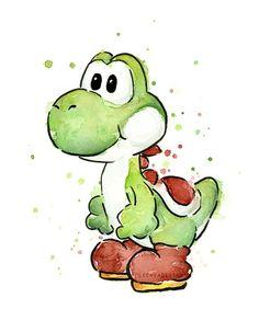 Yoshi - Mario Watercolor Art by Olechka design