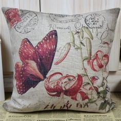 """45*45cm Vintage Red Butterfly in Flower Linen Cotton Cushion Cover Pillow Case :         .        Product name: Cushion Cover CC24  Size:18""""x18"""" (45cmx45cm)  Material: Linen Cotton  Hidden Zip closure  Cushion Cover only, Price is for 1pc.    Remark:   1.The Printing is in the front, no printing only natural color of linen in the back.  2.All cushions are handmade, so please u...Check Price >> http://gethotprice.com/appin/?t=B008NN3X7S"""