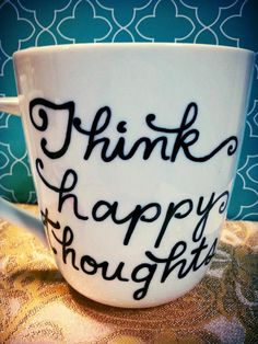 "Coffee Mug ""Think happy thoughts"" Cup by WholeWildWorld, $15.00. Peter Pan. Disney. Tinker Bell. Cartoon. Robin Williams. Gift. Present."