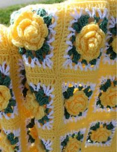 "It's called ""Remember Summer Afghan"" by Maggie's Crochet. I think what makes this one so special, is the lacey v-stitch that in between the green leaves and the outside border of the rose square. Granny Square Crochet Pattern, Crochet Flower Patterns, Afghan Crochet Patterns, Crochet Squares, Crochet Granny, Crochet Motif, Crochet Flowers, Crochet Stitches, Granny Squares"