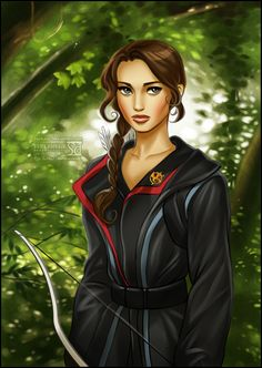 Katniss Everdeen from The Hunger Games by daekazu  I have a hate/love relationship with this series of books, but this is a lovely drawing of the character.
