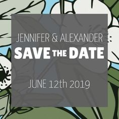 A centered Save The Date Wedding Invitation with a modern look. Floral background and a grey square to underline the white text. Special Day, Save The Date, Wedding Invitations, Dating, Social Media, Grey, Floral, Modern, Gray