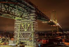From @rob.hys  The Halifax approach of the MacDonald Bridge being prepared for re-decking. #halifax #macdonaldbridge #ironworkers #engineering #halifaxnoise #halifaxns  #suspensionbridge #biglift