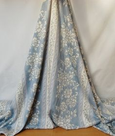 100% cotton floral curtain fabric, pale blue and cream, extra wide 68inch