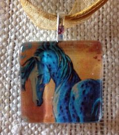 Beautiful Blue Horse Altered Art Glass Tile Pendant Ribbon Necklace Horse Lovers