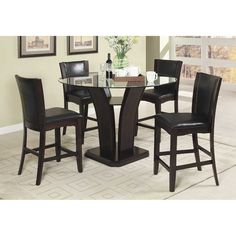 "Round Glass Dining Room Tables 48"" atwood round glass dining table with chairs 