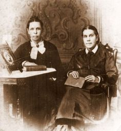 Ellen Gould White (right) pictured with her twin sister Elizabeth.  It was always said that Ellen was deformed after she was hit in the face with the rock at the age of nine, but it doesn't show in photographs.  I think she is prettier than her sister in this photo.