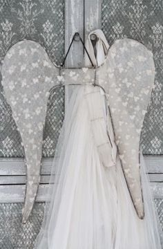Details zu Jeanne d´Arc Living JDL vintage Engelflügel 60 cm Spitze shabby chic…