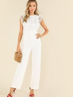 SHEIN offers Lace Bodice Tailored Jumpsuit & more to fit your fashionable needs. White Lace Jumpsuit, Tailored Jumpsuit, Wedding Jumpsuit, Jumpsuit Outfit, Jumpsuit Style, Jumpsuit Dressy, Lace Bodice, White Outfits, Jumpsuits For Women