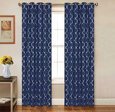 2 Piece Set CARTEL Window Panels Embroidered Grommet Top Decorative Curtains 54x84  54x95 54x95 Navy
