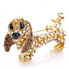 Lovely golden puppy shape Brooch