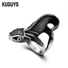 KUGUYS Sun of Lizard Rings Men Women Black Cabrite Top Quality Stainless Steel Jewelry Accessories Gifts for Girl Boy Punk Biker