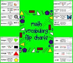 Math Vocabulary Flip Charts from Mrs Ps ideas on TeachersNotebook.com (24 pages)