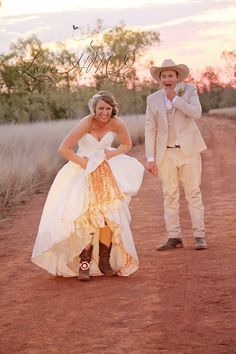 Wedding Country Rustic Paddock Couple Dirt Road Homestead Grass Ring Cowboy Couple Love  Outback Dress
