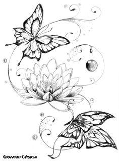Butterflies Buddha Lotus Tattoo Design photo - 1