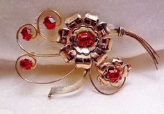 Vintage Harry Iskin Gold Filled Flower Leaf Red Rhinestone Brooch Pin