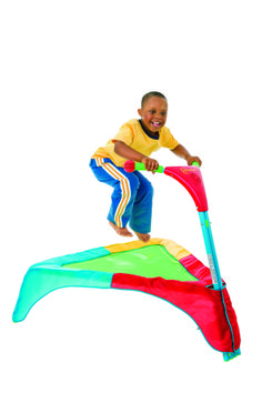 Kids will jump for joy on this colorful and interactive trampoline.